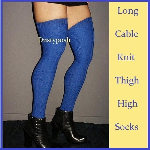 99cdbaba9 Cable Knit Thigh High Over The Knee Socks Boot OTK
